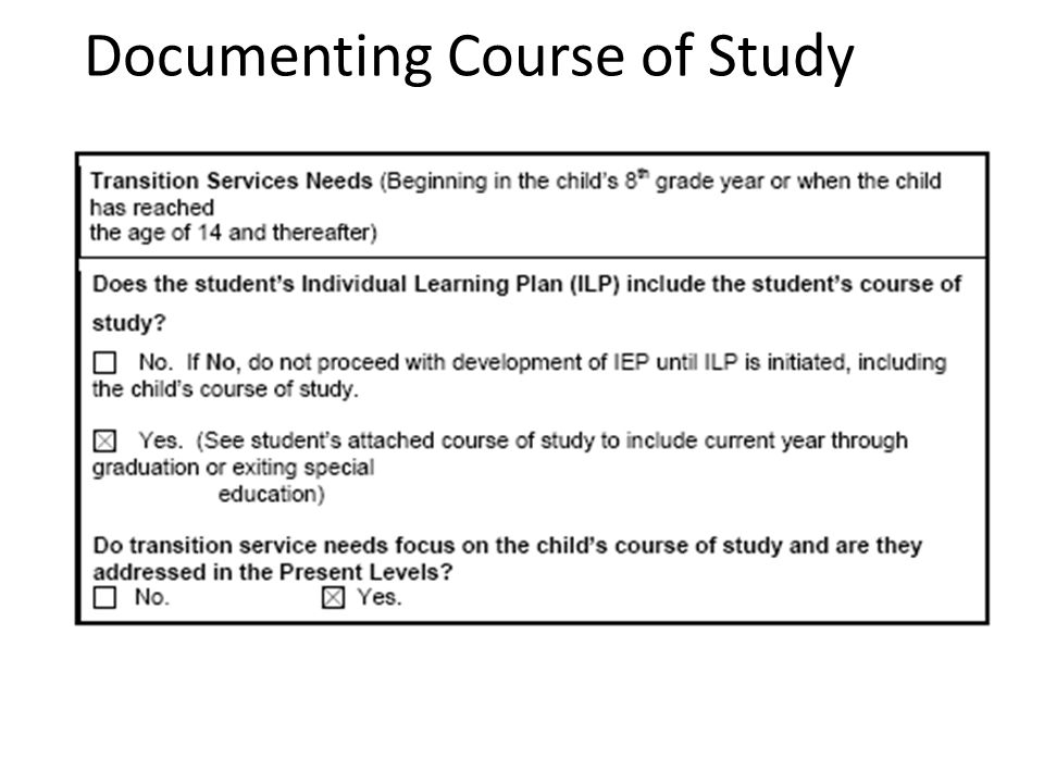 Documenting Course of Study