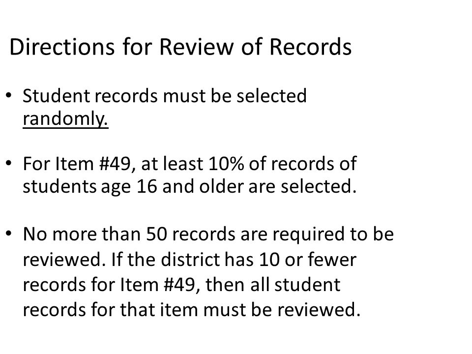 Directions for Review of Records