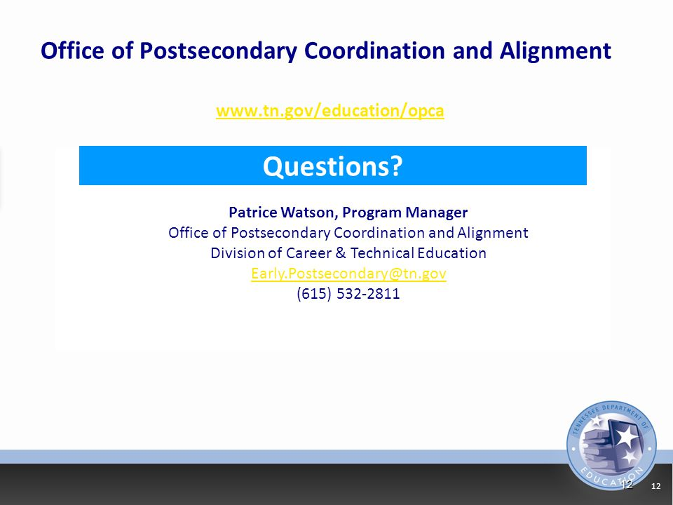 Office of Postsecondary Coordination and Alignment