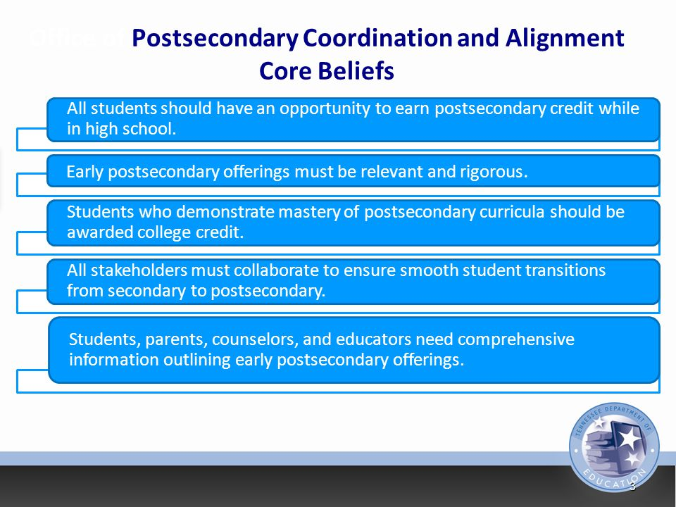 Office of Postsecondary Coordination and Alignment Core Beliefs