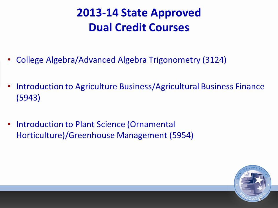 2013-14 State Approved Dual Credit Courses