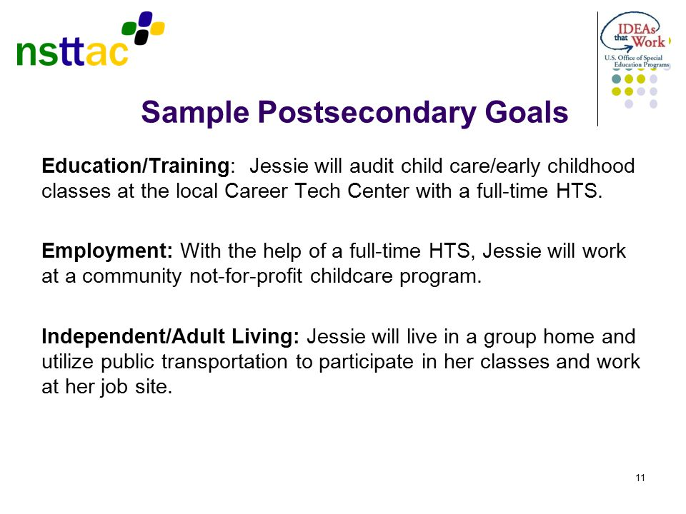 Sample Postsecondary Goals