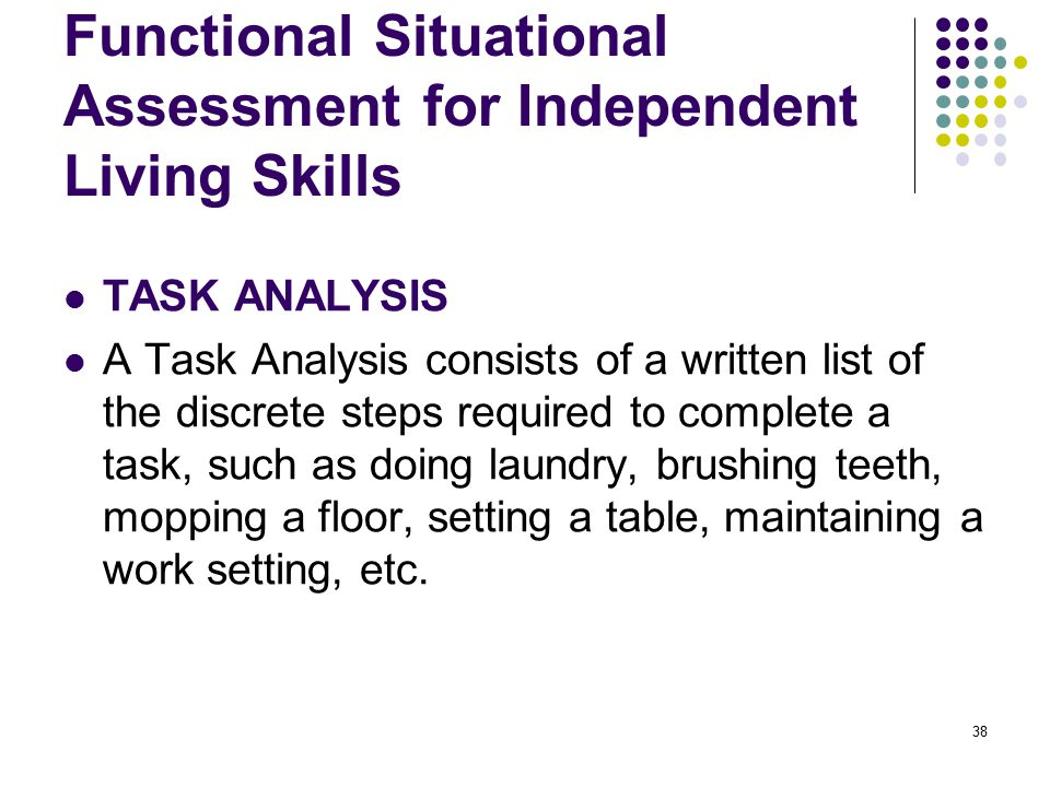 Functional Situational Assessment for Independent Living Skills