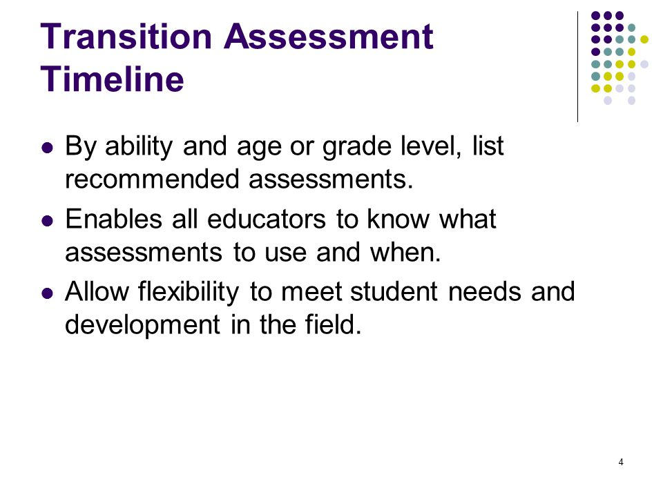 Transition Assessment Timeline
