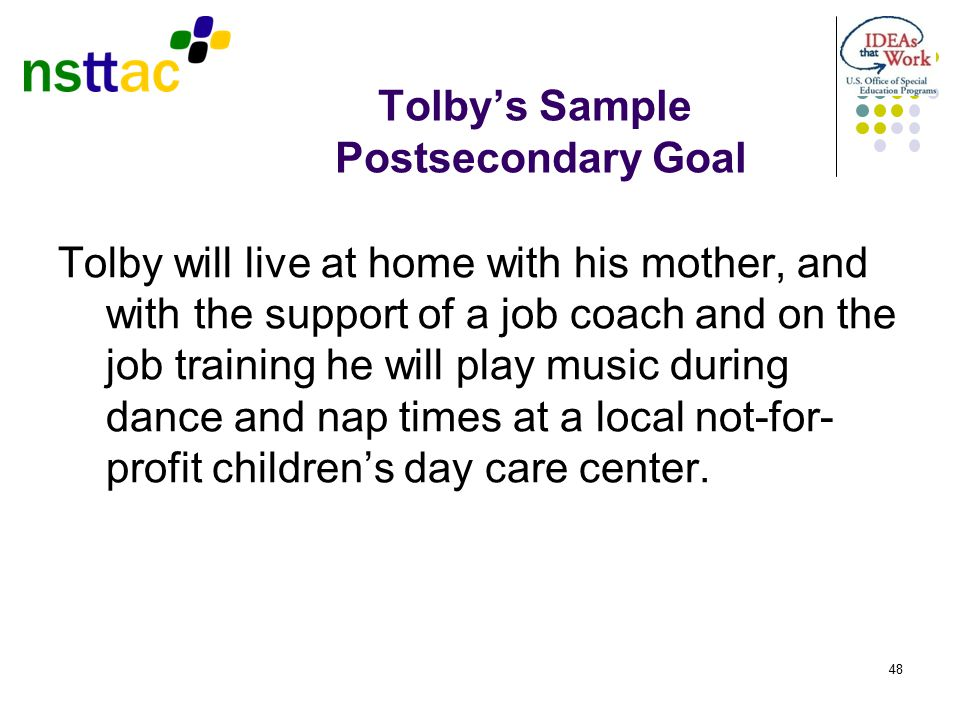 Tolby's Sample Postsecondary Goal