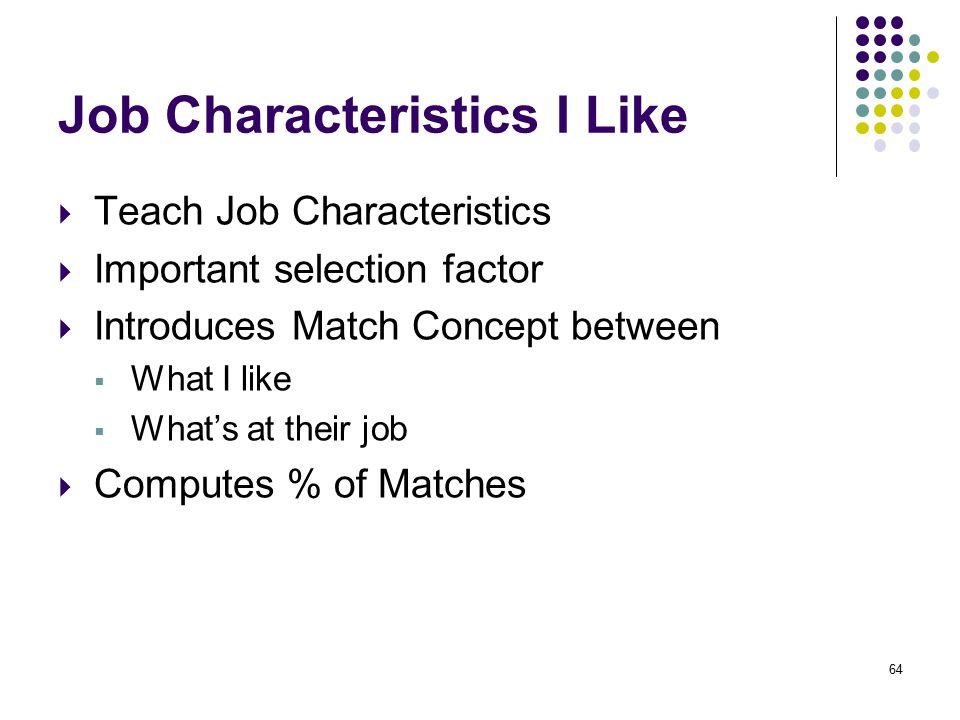 Job Characteristics I Like