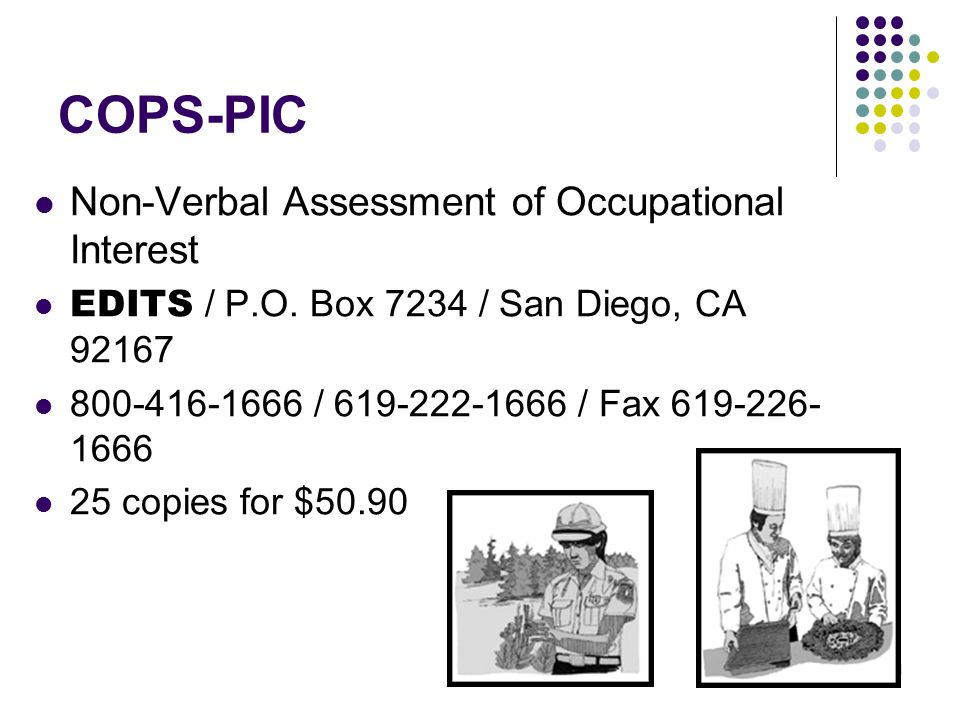 COPS-PIC Non-Verbal Assessment of Occupational Interest