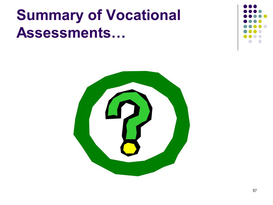 Summary of Vocational Assessments…