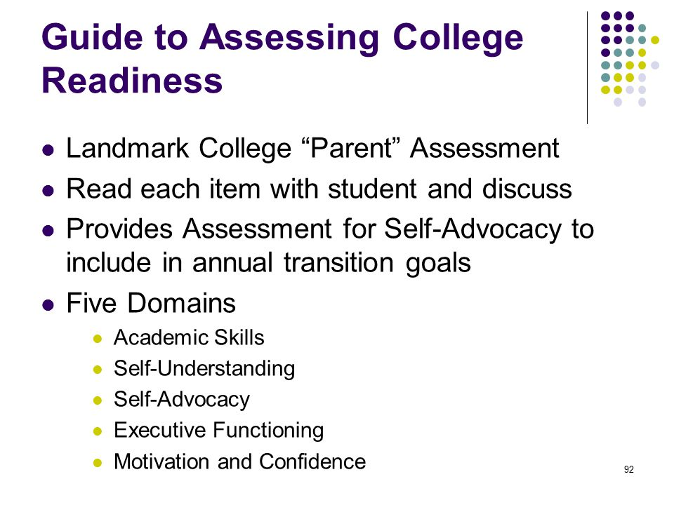 Guide to Assessing College Readiness