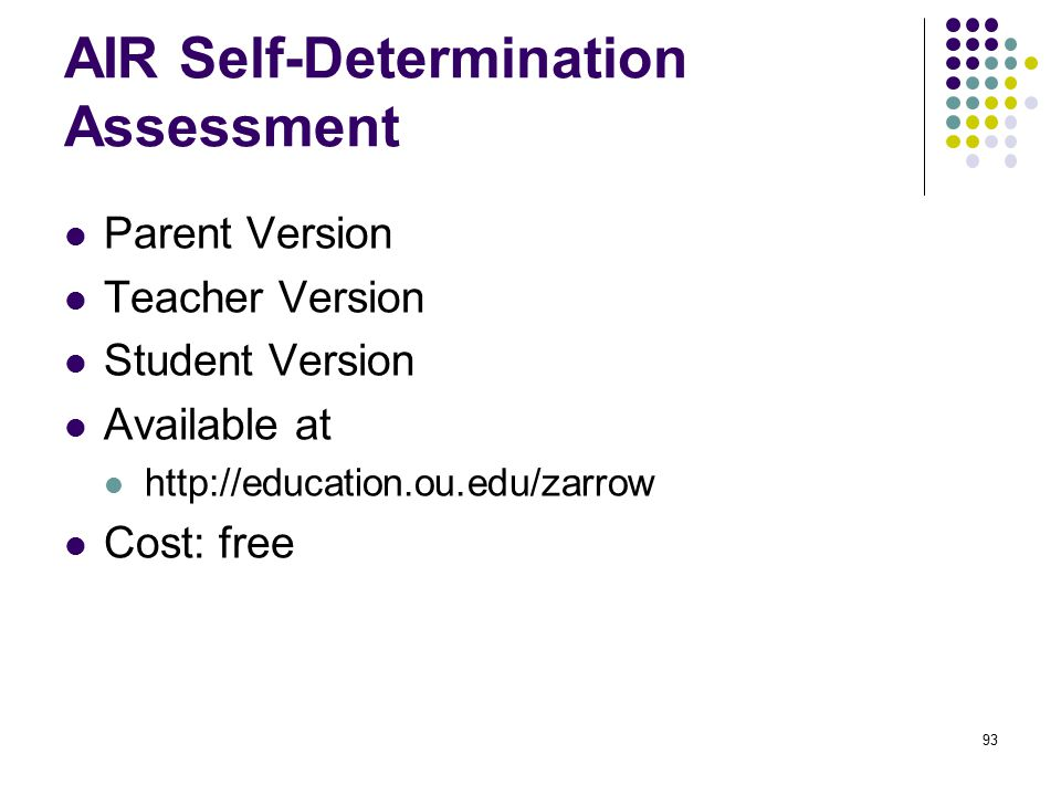 AIR Self-Determination Assessment