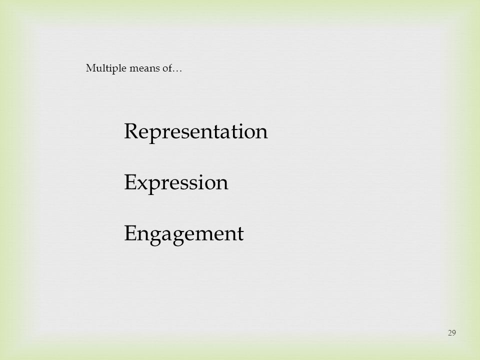 Multiple means of… Representation Expression Engagement