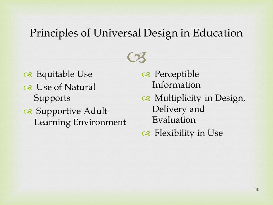Principles of Universal Design in Education