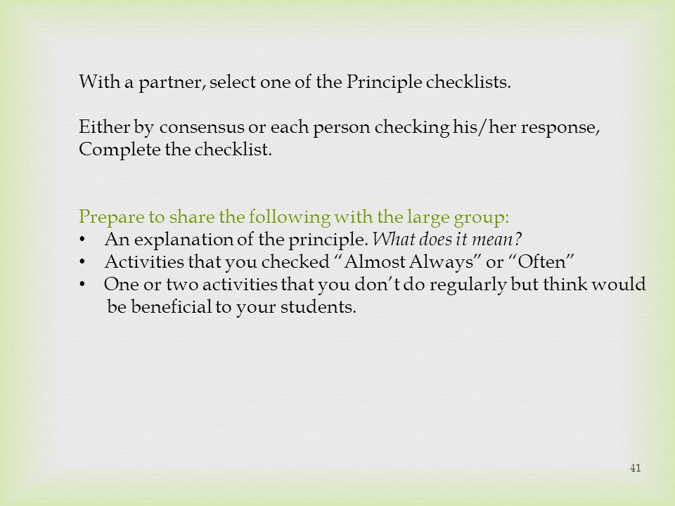 With a partner, select one of the Principle checklists.