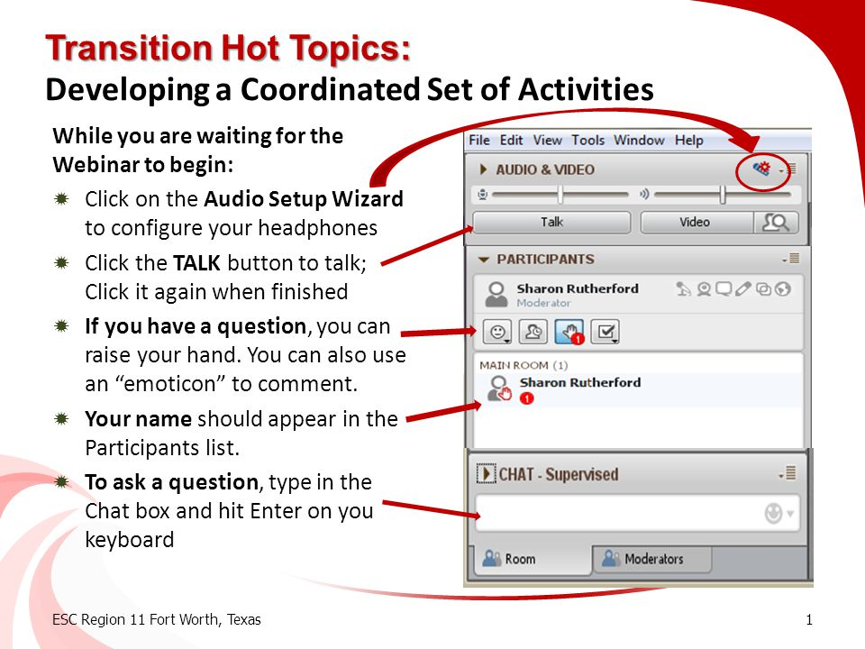 Transition Hot Topics: Developing a Coordinated Set of Activities