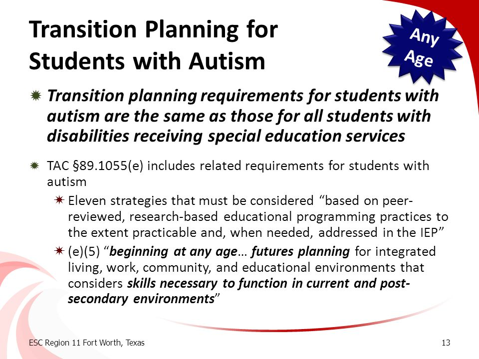 Transition Planning for Students with Autism