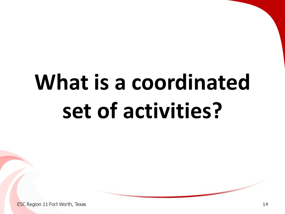 What is a coordinated set of activities
