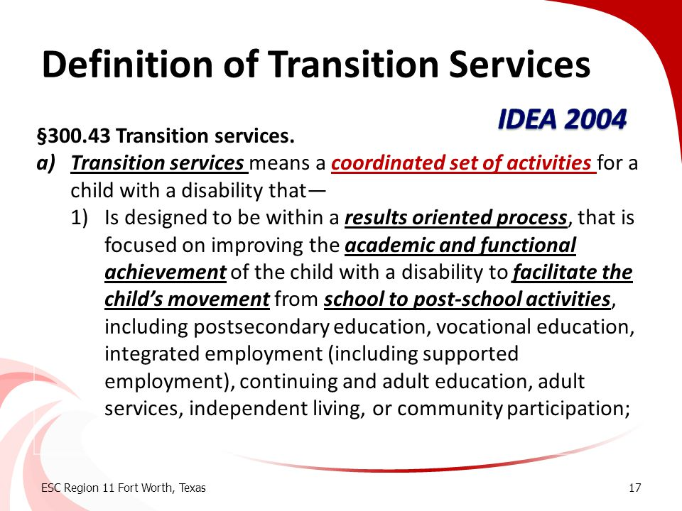 Definition of Transition Services