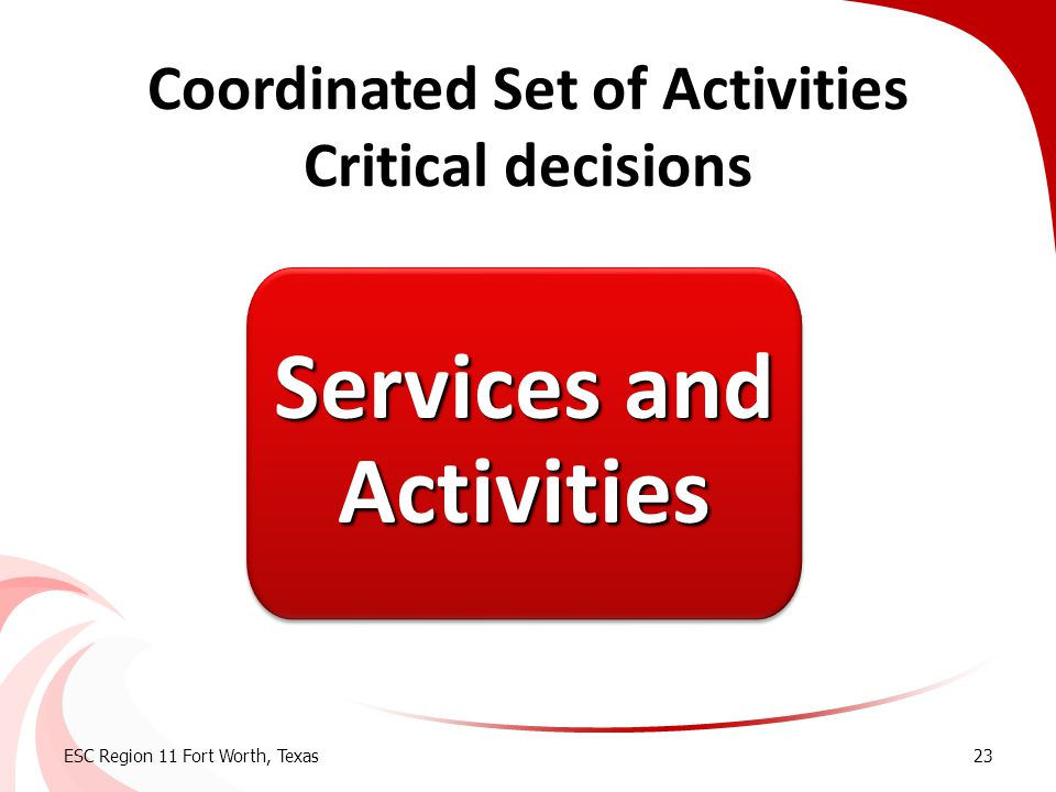 Coordinated Set of Activities Critical decisions