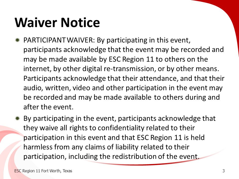 Transition Hot Topics Waiver Notice.
