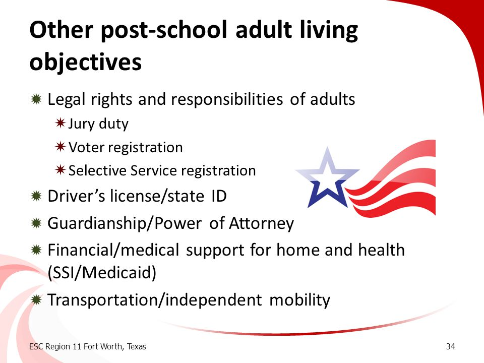 Other post-school adult living objectives