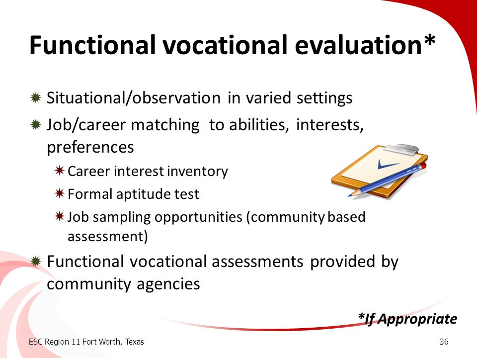 Functional vocational evaluation*