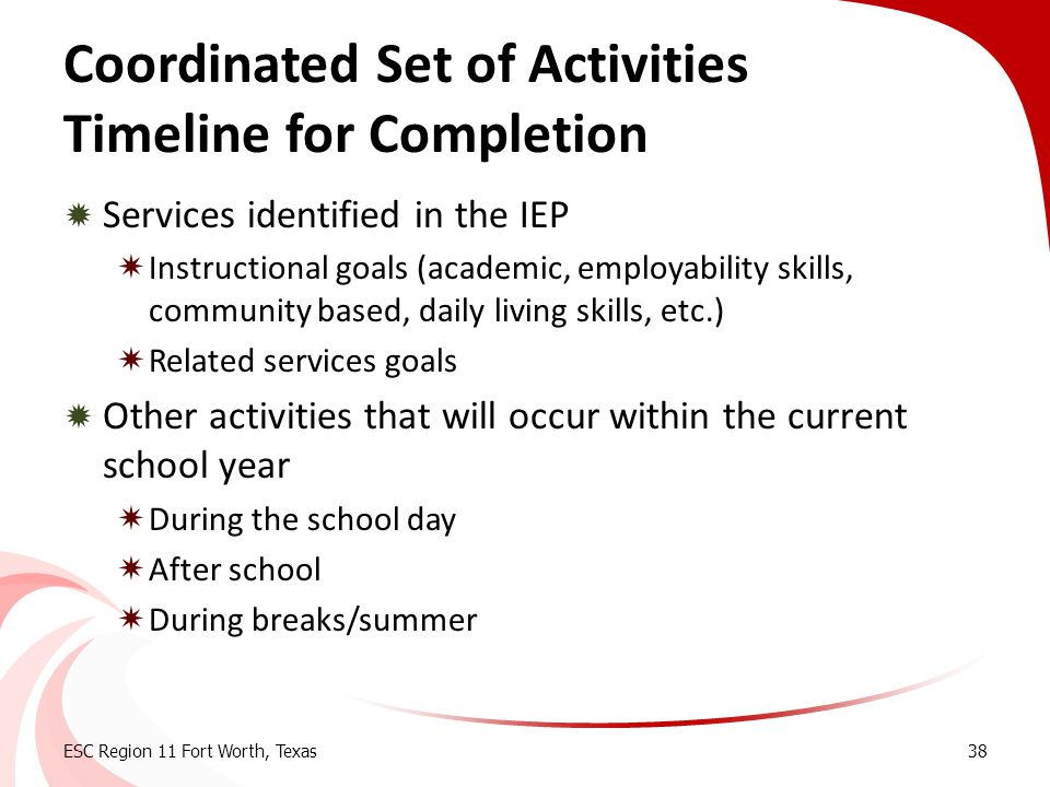 Coordinated Set of Activities Timeline for Completion