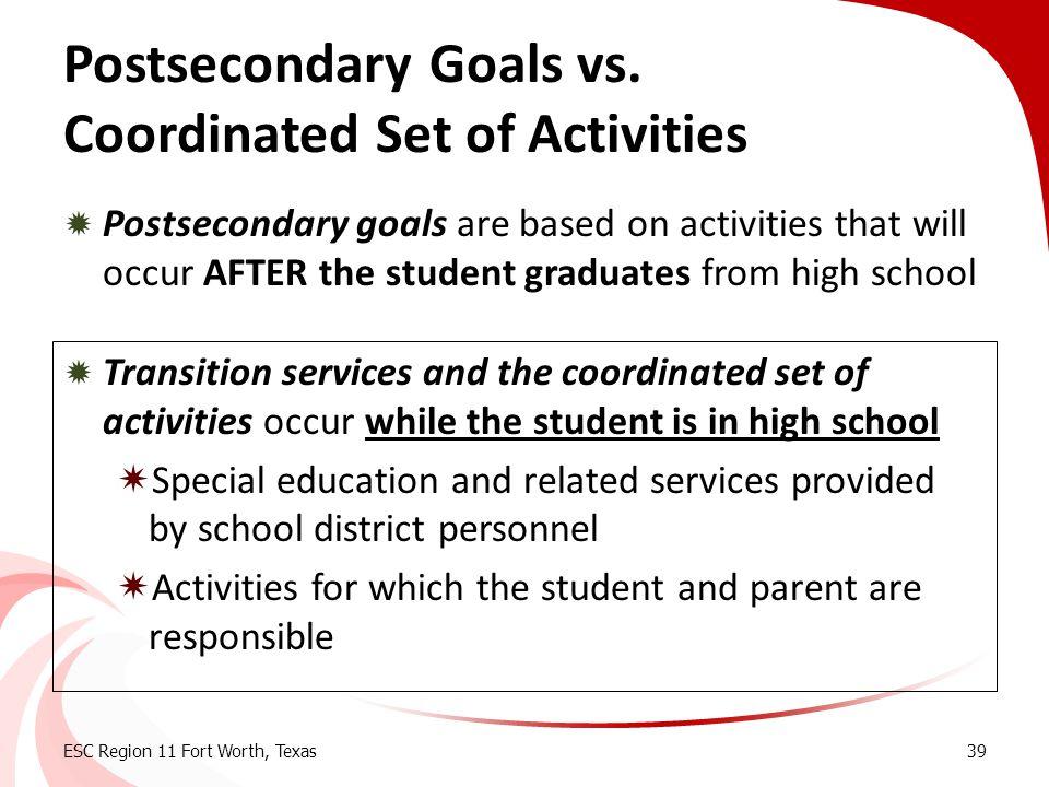 Postsecondary Goals vs. Coordinated Set of Activities