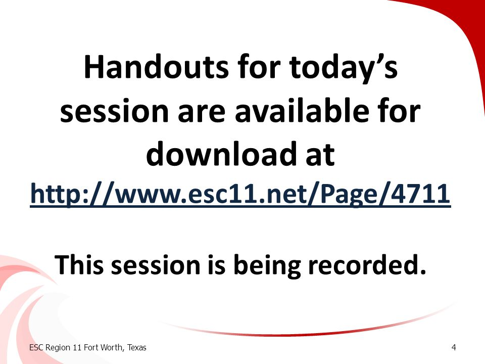 Handouts for today's session are available for download at http://www