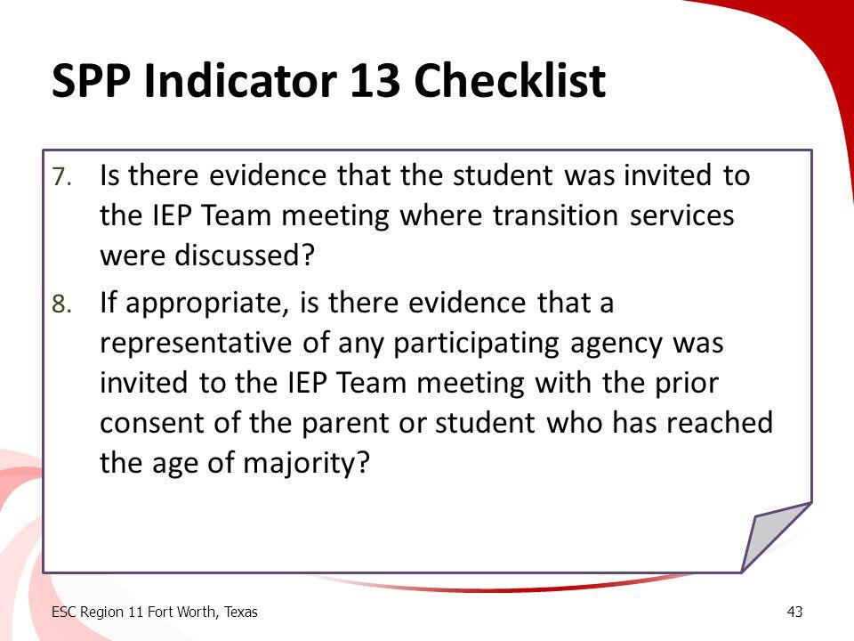 SPP Indicator 13 Checklist