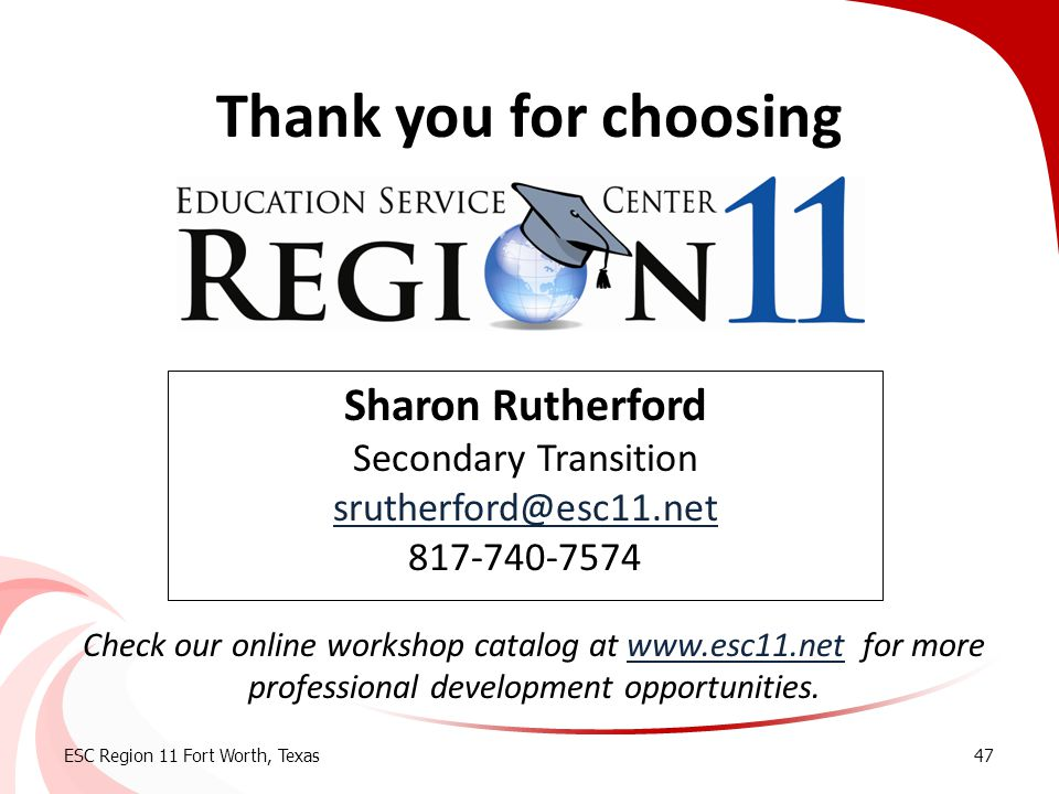 Thank you for choosing Sharon Rutherford Secondary Transition