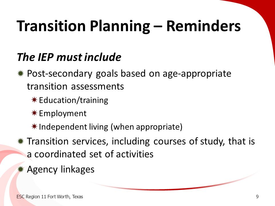 Transition Planning – Reminders