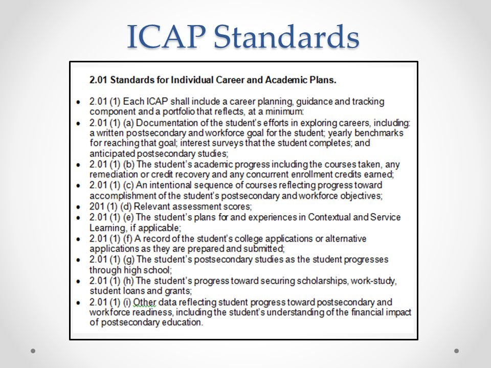 ICAP Standards Also must be transferable, accessible, and in compliance with FERPA