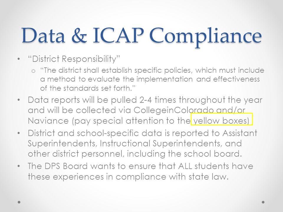Data & ICAP Compliance District Responsibility