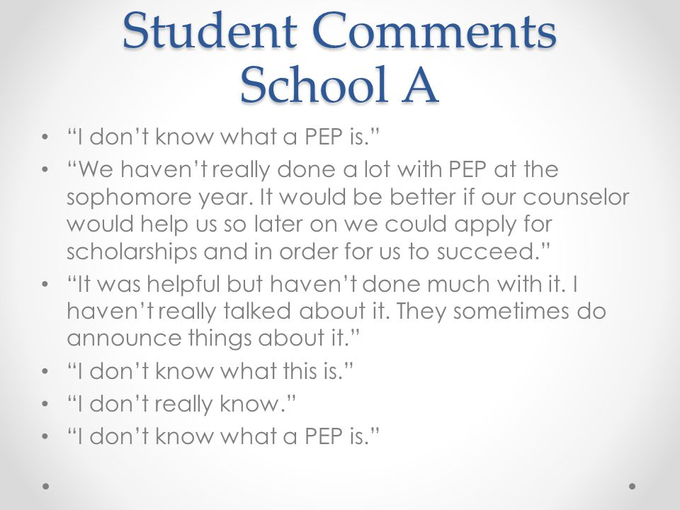 Student Comments School A