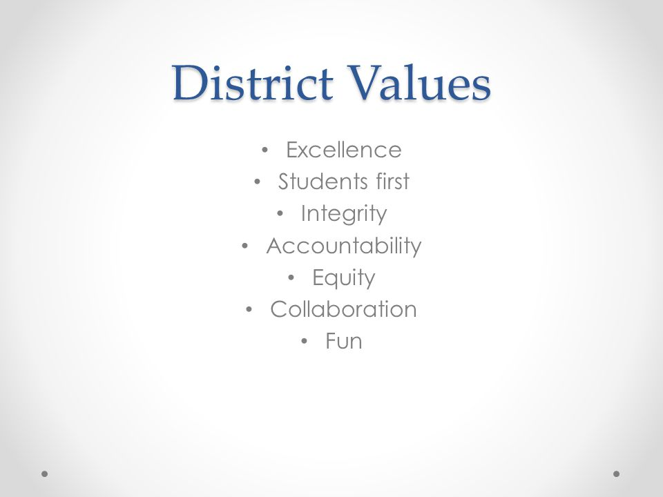 District Values Excellence Students first Integrity Accountability