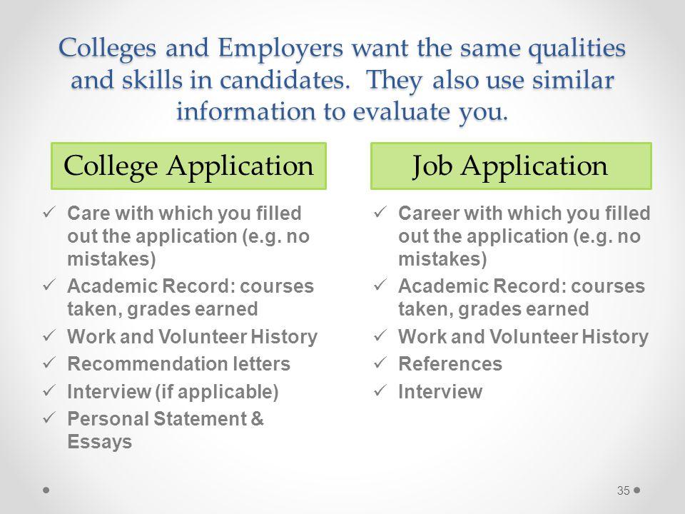 College Application Job Application