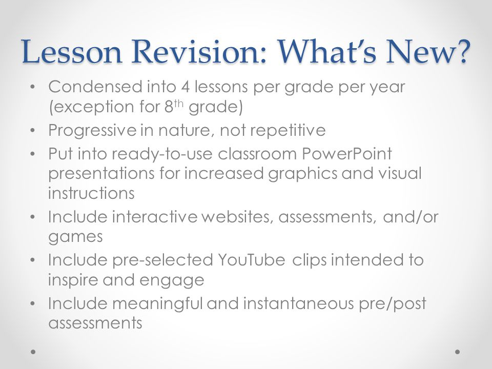 Lesson Revision: What's New