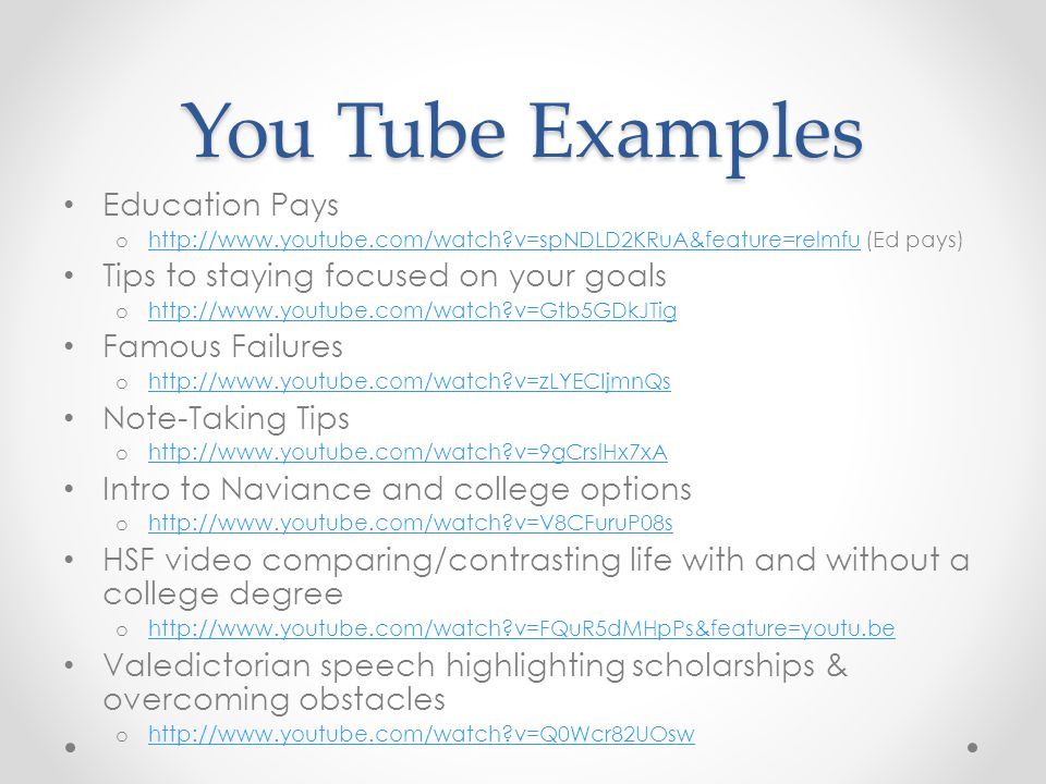 You Tube Examples Education Pays Tips to staying focused on your goals