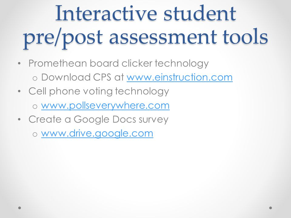 Interactive student pre/post assessment tools