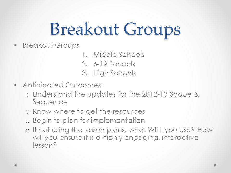 Breakout Groups Breakout Groups Middle Schools 6-12 Schools