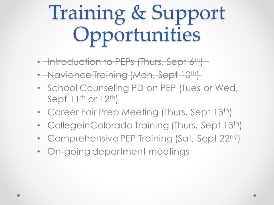 Training & Support Opportunities