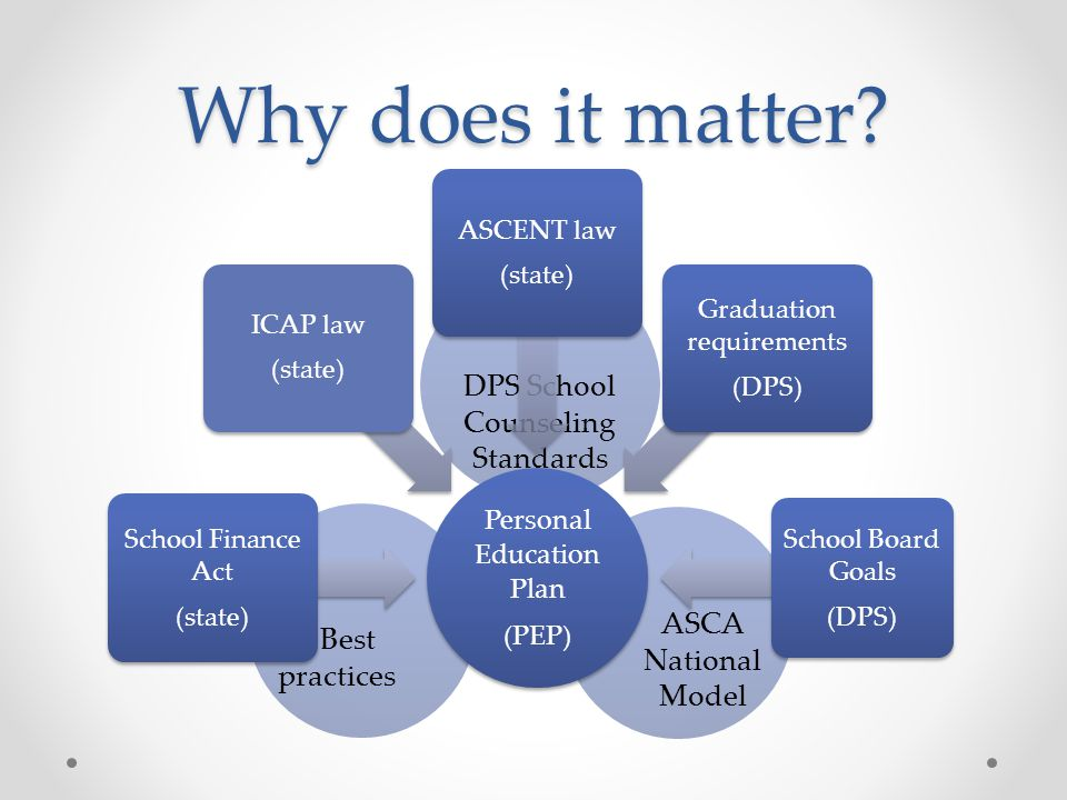 Why does it matter DPS School Counseling Standards