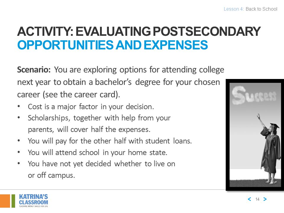 Activity: Evaluating Postsecondary Opportunities and Expenses