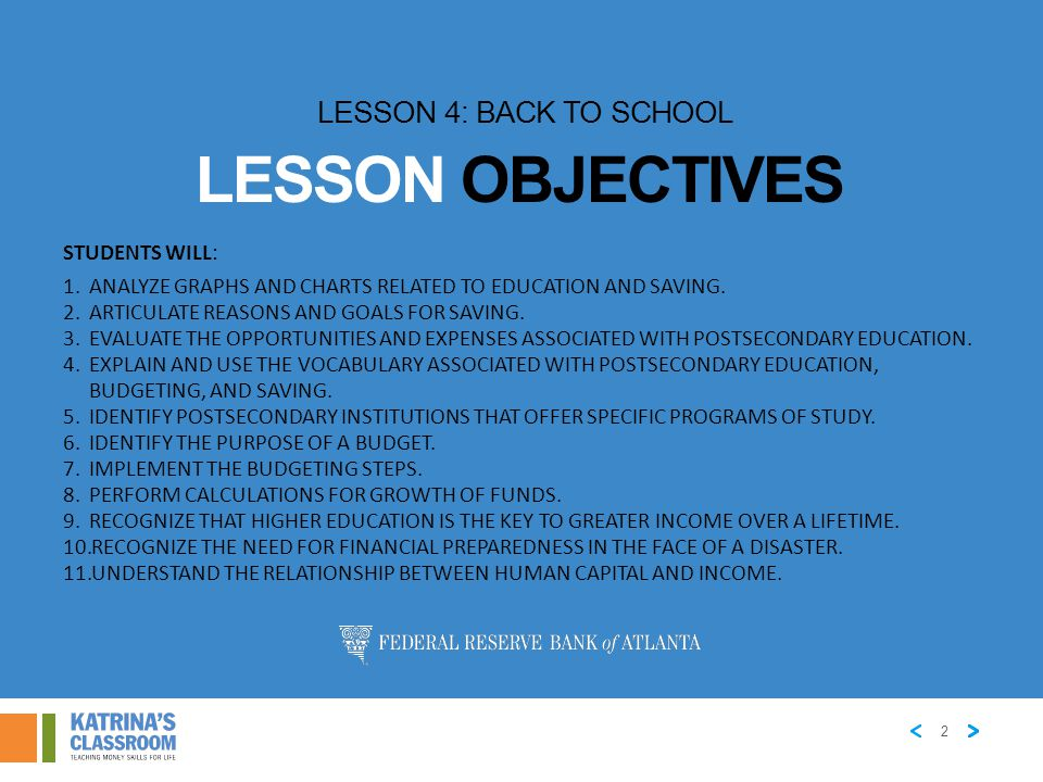 Lesson Objectives Lesson 4: Back to School Students will: