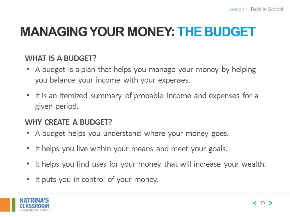 Managing Your Money: The Budget