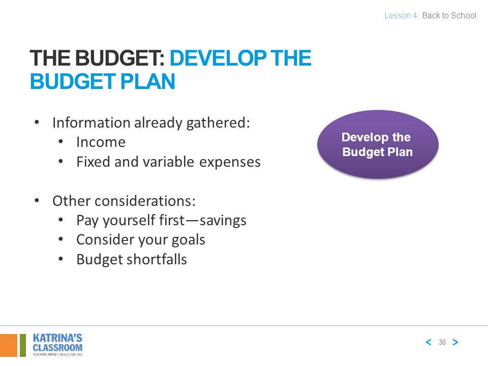 The Budget: Develop the Budget Plan