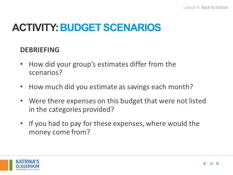 Activity: Budget Scenarios