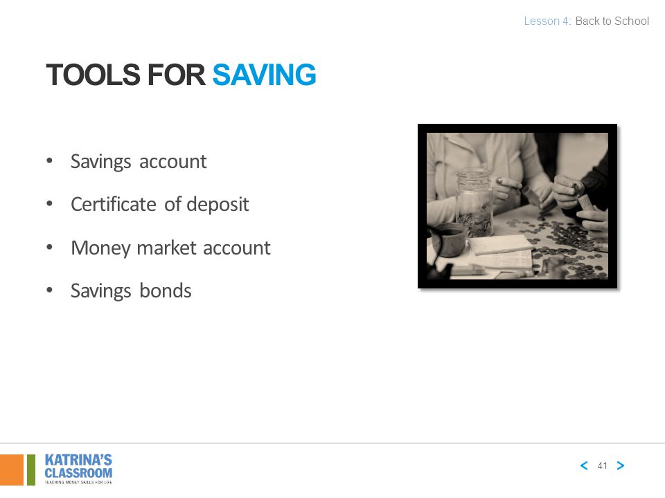 Tools for Saving Savings account Certificate of deposit