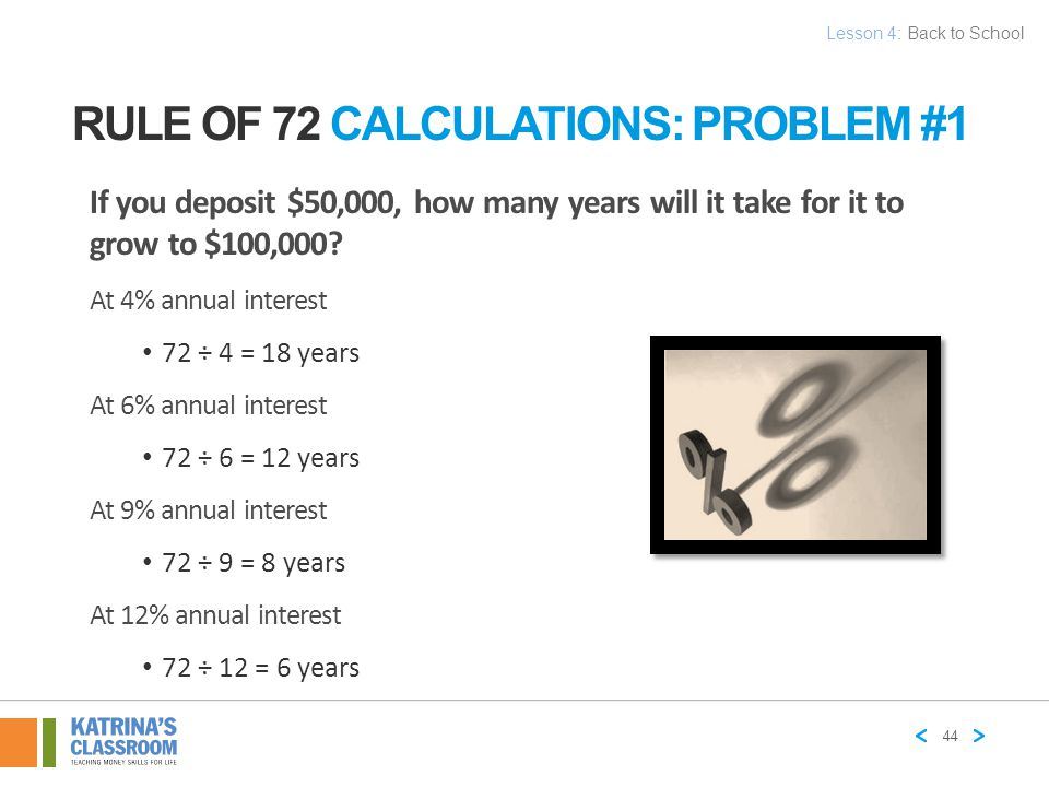 Rule of 72 Calculations: Problem #1