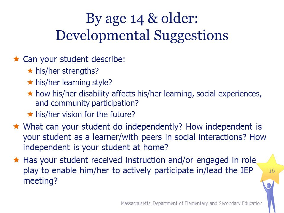 By age 14 & older: Developmental Suggestions